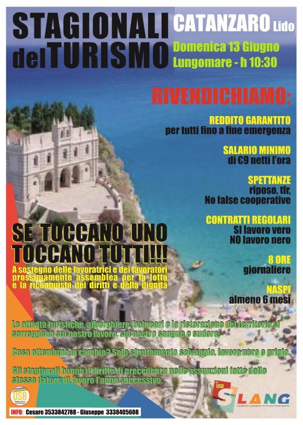 """images Stagionali del turismo, domenica l'iniziativa dell'Usb Catanzaro: """"Vicini ai lavoratori"""""""