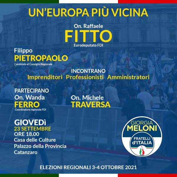 """Regionali. """"Un'Europa più vicina"""": domani Fitto e Pietropaolo (FdI) incontrano imprenditori e amministratori"""