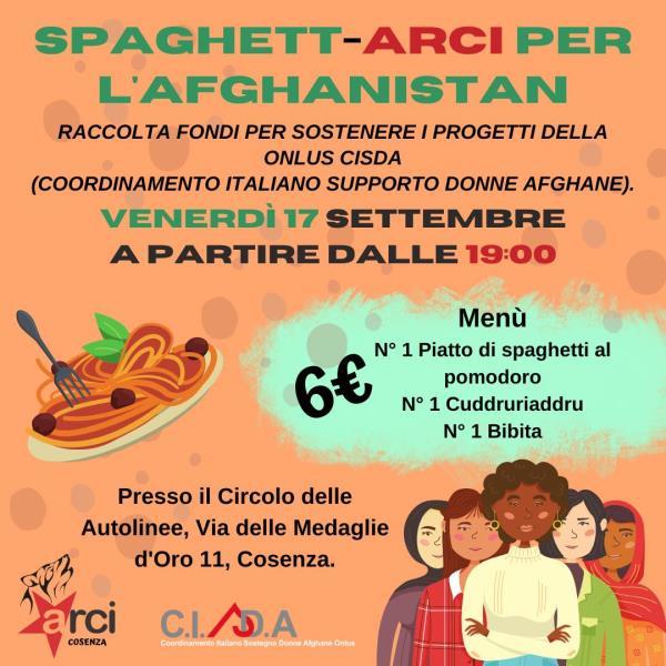"""images Cosenza. Il 17 settembre """"Una spaghettata per l'Afghanistan"""". L'impegno di Arci Cosenza per la raccolta fondi"""
