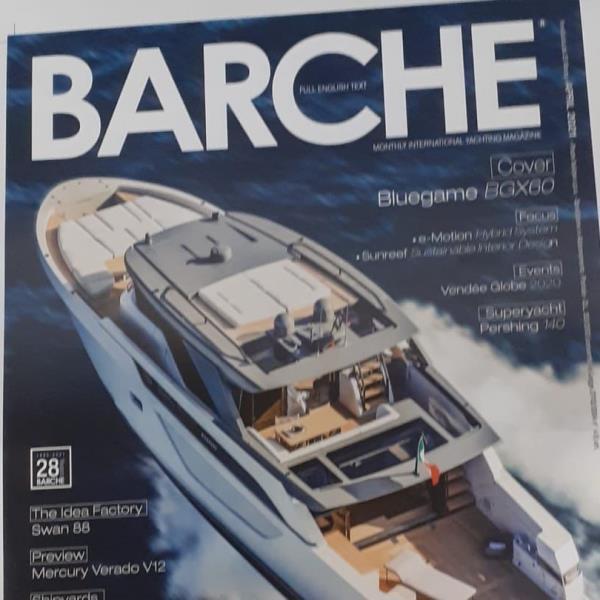 """images L'imbarcazione Bluegame BGX60 sulla copertina di """"Barche Magazine"""" è stata disegnata dall'architetto Luca Santella"""