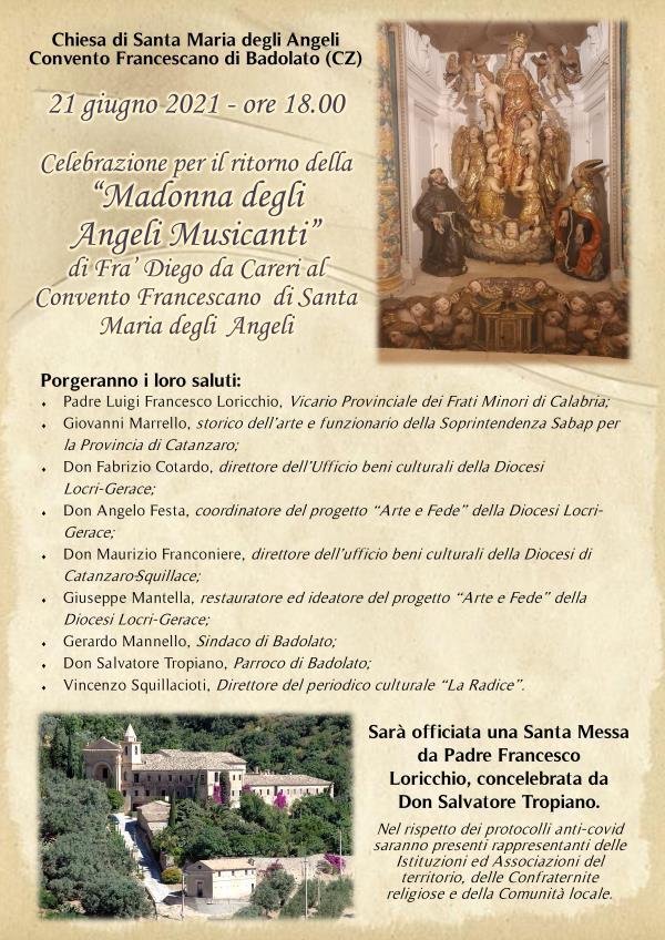 """images Badolato. Sarà celebrato lunedì il ritorno della """"Madonna degli angeli musicanti"""" di Frà Diego Careri"""