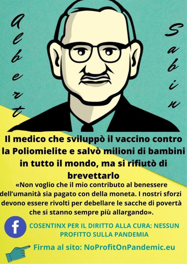 """images Cosenza. Vaccini, domani il primo """"Sabin day"""" per la moratoria sui brevetti"""