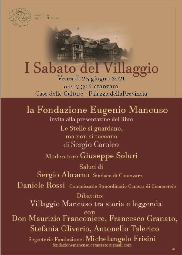 """images Catanzaro. A """"I sabati del villaggio"""" il libro """"Le stelle si guardano ma non si toccano"""" di Sergio Caroleo"""