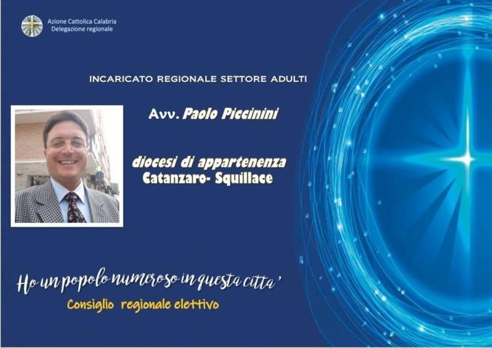 images Paolo Piccinini rappresenterà l'Arcidiocesi di Catanzaro nel Consiglio regionale dell'Azione cattolica