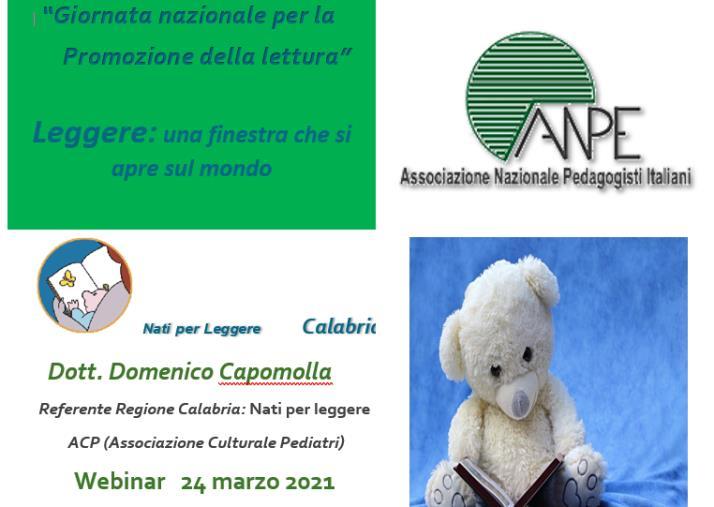 """images """"Giornata nazionale della lettura"""", per l'occasione l'ANPE ha organizzato un webinar il 24 marzo"""