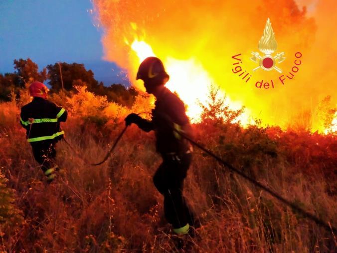 images Incendi in Calabria. Nell'ultimo giorno 160 interventi dei Vigili del Fuoco