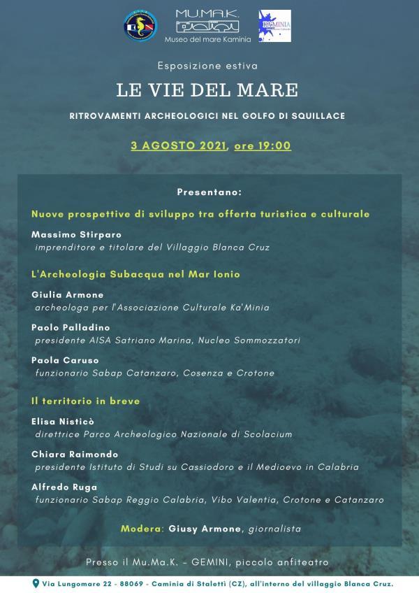 """images Archeologia subacquea in Calabria, esperti a confronto su """"Le vie del mare"""". Focus sui ritrovamenti nel golfo di Squillace in mostra al Mu.Ma.K"""