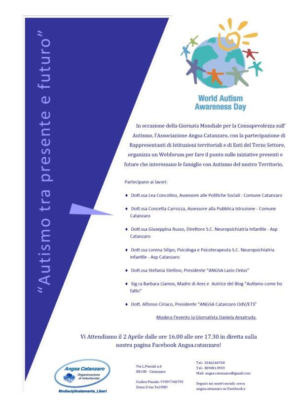 """images Giornata mondiale consapevolezza sull'Autismo. Domani webforum """"tra presente e futuro"""""""