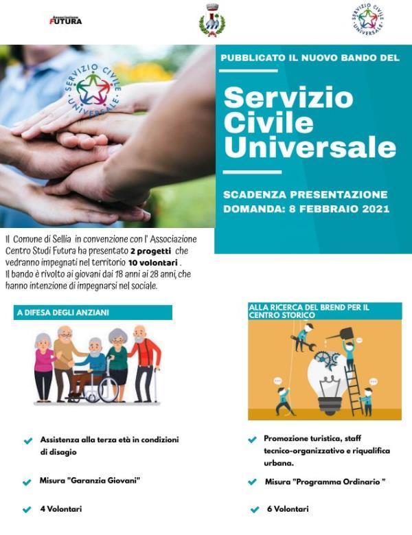 images Continua l'impegno per il sociale al Comune di Sellia. Avviati per il 2021 due progetti per dieci 10 volontari