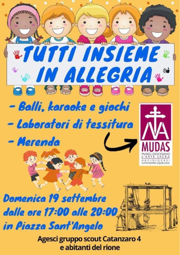 """Catanzaro. Domenica """"Tutti insieme in allegria"""" nel rione Sant'Angelo: musica, giochi e laboratori per grandi e piccoli"""