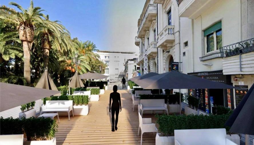 """images Dehors a via Marina Alta a Reggio Calabria. Sorgonà (SILB): """"Accolta la nostra idea, sia replicata in altri spazi della città"""""""