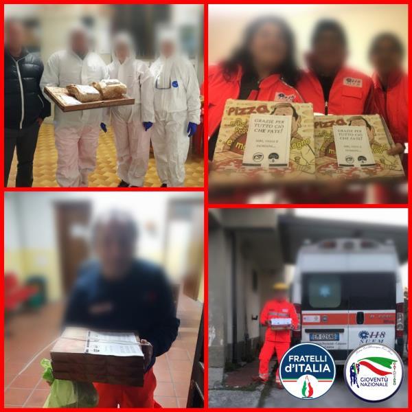 """images Coronavirus. """"Pizza Sospesa"""", iniziativa di Gioventù Nazionale e Fratelli d'Italia a Catanzaro"""