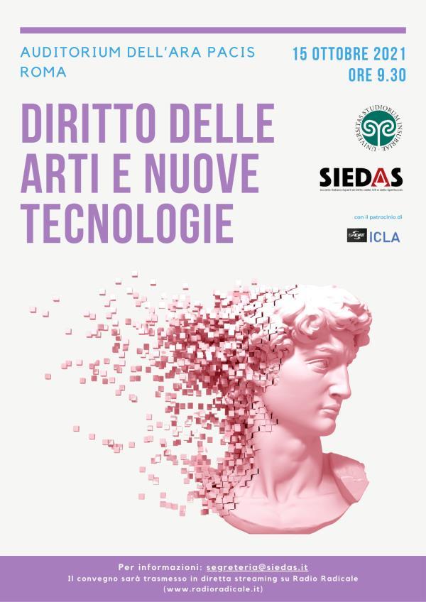 """images """"Il Diritto delle arti e delle nuove tecnologie"""": il 15 ottobre appuntamento all'Auditorium dell'Ara Pacis Roma"""