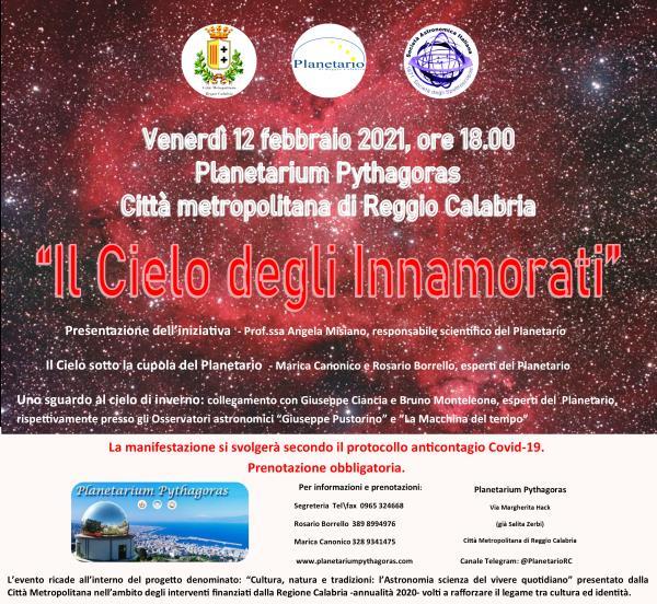 """images Un San Valentino anticipato al Planetario Pythagoras di Reggio Calabria con """"Il Cielo degli Innamorati"""""""