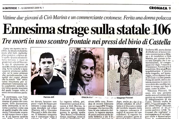 """images """"Basta Vittime Sulla Strada Statale 106""""dopo 20 anni, ricorda le vittime Elisa Sciuto, Patrizio Alfì e VincenzoFloccari"""