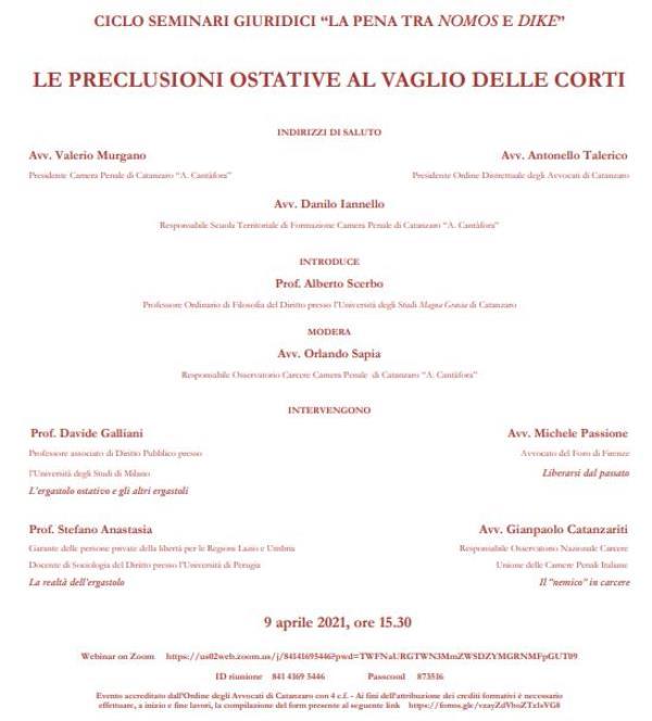 """images """"Le preclusioni ostative al vaglio delle Corti"""": venerdì incontro sul web organizzato da Umg e avvocati"""