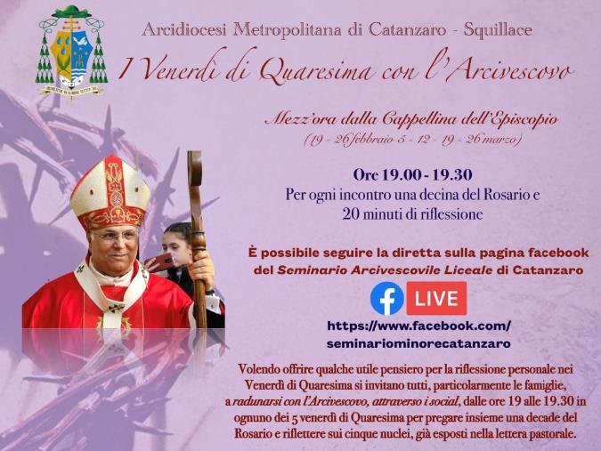 images Ogni venerdì di Quaresima i momenti di riflessione con l'Arcivescovo Bertolone sui social
