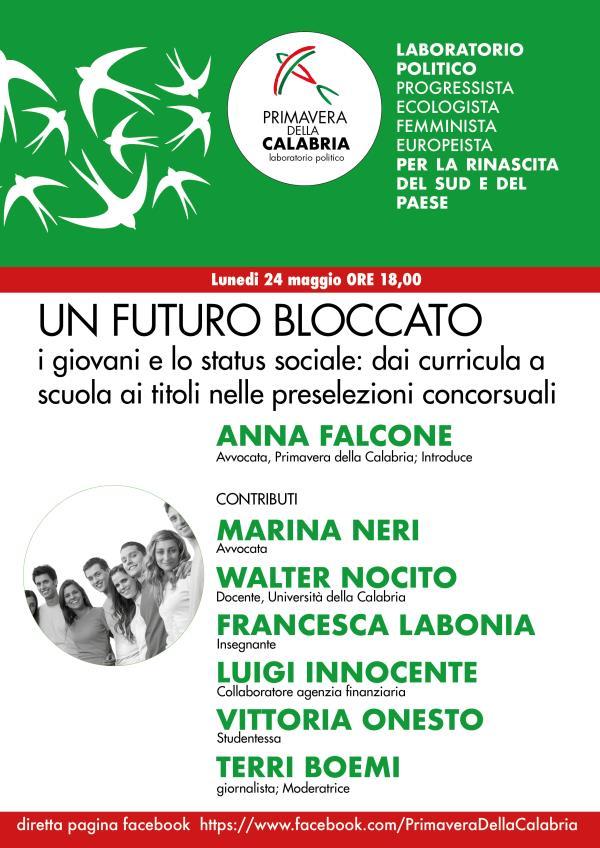 """images """"Un futuro bloccato: i giovani e lo status sociale"""", lunedì il webinar di """"Primavera della Calabria"""""""